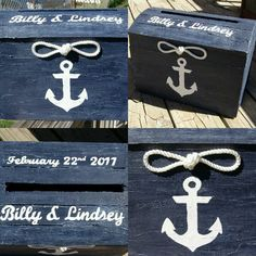 A nautical navy & white theme on our treasure chest card box