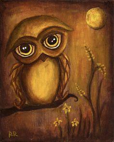 Harvest Moon Owl Print 8x10