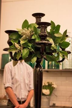 Four Week Vocational Course at the McQueens Floristry School : Part 1 Candelabra Wedding Centerpieces, Candelabra Flowers, Black Candelabra, Banquet Centerpieces, Wedding Decorations, Wedding Ideas, Centrepieces, Large Flower Arrangements, Large Flowers
