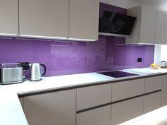 Red Lilac Glass Splashback Condo Interior Design, Splashback, Home Renovation, New Kitchen, Lilac, Kitchens, Kitchen Cabinets, Glass, Red