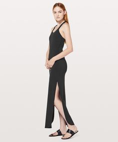 Restore & Revitalize Dress - This full-length dress is perfect for every day. Airy slits at the sides give you the freedom to move to and from—whether it's a catch-up over lattes or pilates. Minimalist Bag, Minimalist Fashion, Capsule Wardrobe, Dress Skirt, Fashion Shoes, Normcore, Elegant, Restore, Coat