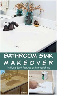 Painted Bathroom Sink Makeover – I'm Flying South featured on Remodelaholic .com… Painted Bathroom Sink Makeover – I'm Flying South featured on Remodelaholic . Home Renovation, Home Remodeling, Kitchen Remodeling, Counter Top Sink Bathroom, Replace Bathroom Sink, Toilet Sink, Kitchen Sinks, Kitchen Cupboards, Countertop Makeover