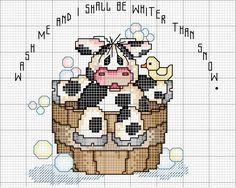 Schema punto croce Mucca-tinozza