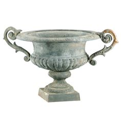 Every great floral arrangement (fall, winter, spring or summer) begins with a striking container. This weathered, green urn with classic scrolled French handles breathes classic elegance into any environment, outdoors...