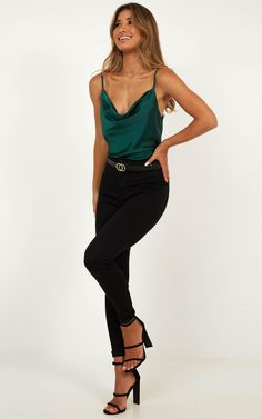 Complete your look with the Straight Line Top In Emerald Satin from Showpo! Buy now, wear tomorrow with easy returns available.