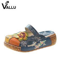 90a57845b2c88 2017 Summer Women Shoes Flat Slides Platform Sandals Genuine Leather  Handmade Flower Cover Toes Comfotable Women