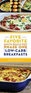 Favorite South Beach Diet Phase One (Low-Carb) Breakfasts; all these favorite breakfasts are also gluten-free. [found on ]Five Favorite South Beach Diet Phase One (Low-Carb) Breakfasts; all these favorite breakfasts are also gluten-free. Low Carb Recipes, Diet Recipes, Healthy Recipes, Low Carb Breakfast, Breakfast Recipes, Breakfast Ideas, Atkins Breakfast, 1200 Calorie Diet Meal Plans, Brunch