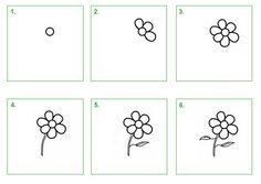 Bloem. Leer hoe je stap voor stap zelf een boem kunt tekenen. #tekenen #tekening #knutselen #kleuren #bloem #schoolwiz