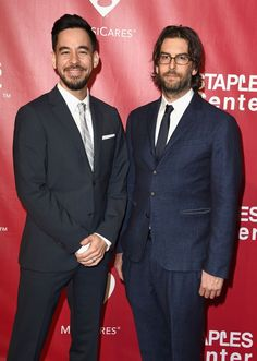 2016 Person Of The Year — Red Carpet - Mike Shinoda And Rob Bourdon - Mike Shinoda and Rob Bourdonof Linkin Park arrive at the 2016 MusiCares Person of the Year tribute ceremony in honor of Lionel Richie on Feb. 13 in Los Angeles