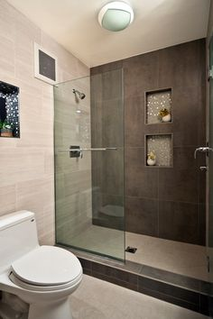 """View this Great Modern Master Bathroom with Recessed shower niche & Glass mosaic tile by Yana Mlynash. Discover & browse thousands of other home design ideas on Zillow Digs. Modern Master Bathroom, Brown Bathroom, Modern Bathroom Design, Bathroom Interior, Small Bathroom, Bathroom Ideas, Shower Ideas, Tile Bathrooms, Modern Bathrooms"