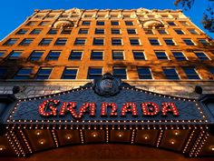 The beautiful marquee of The Granada Theater where the benefit concert is held each year.