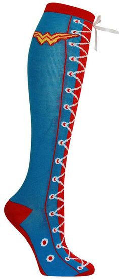 Blue knee high sock with Wonder Woman emblem and a lace up pattern up the front of the leg - topped by a white ribbon.  Fits a women's shoe size 5-10.