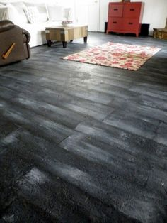 Plain Concrete to Painted Wood Grain - more work, but cheaper than installing carpet or hard wood
