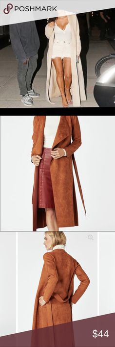 Long suede jacket/ duster Faux suede pecan colored belted duster 1st and  3rd pics are actual duster) others for styling ideas only. brand new with tags. Super nice quality coat. Stored in a non smoking home JustFab Jackets & Coats