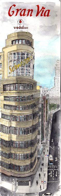 Gran Via. Ilustración de Fernando Benito.