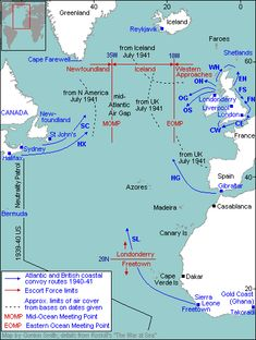 Battle of Atlantic-Oct 1941 the Mid Ocean Meeting Point (MOMP) at 22'W, the USN escorted HX, and joint RN/RCN groups the slower SC convoys. RN ships based in Iceland then took over until the convoys were met by Western Approaches escorts operating out of Londonderry, Northern Ireland