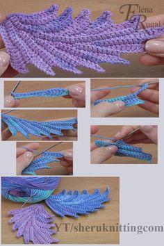 Crochet Leaf Patterns, Crochet Leaves, Crochet Motifs, Freeform Crochet, Crochet Flowers, Crochet Feathers Free Pattern, Crochet Appliques, Art Au Crochet, Crochet Crafts