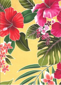 50ukuhi This all-over stylized, multi-colored hibiscus, plumeria, orchids and ferns pattern apparel cotton is a happy print that is available in aqua, yellow and natural backgrounds.  More fabrics at: BarkclothHawaii.com