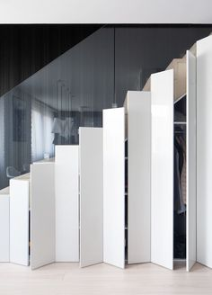 Staircase Storage - Apartment by Widawscy Studio Architektury Staircase Storage, Stair Storage, Hidden Storage, Extra Storage, Storage Under Stairs, Modern Staircase, Staircase Design, Staircase Ideas, Stair Gallery