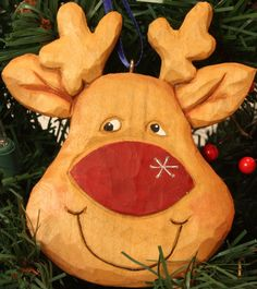 Christmas hand carved Ornament Reindeer by WasatchWoodcarver