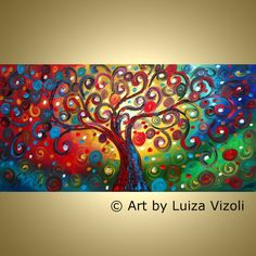 Original Abstract Painting INNER JOURNEY Fantasy by LUIZAVIZOLI, $365.00