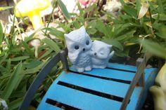 Miniature Fairy Garden Mamma and Baby Owl Owls Animal Figurine Porcelain Accessory Supply by fairyinthegarden1 on Etsy