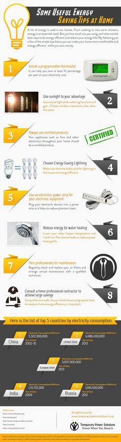 Some Useful Energy Saving Tips at Home #infographic #Energy #Power #Home