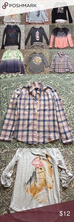 Girls Long Sleeve Tees Bundle 👱♀️🌸 (9) Long Sleeve Tees: 1 Gap Kids, 5 Justice, 3 SO. All lightweight & in flawless condition! Great Buy🏆 Justice Shirts & Tops Tees - Long Sleeve