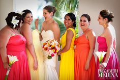 The Bridal Party in bright tropical colours - so pretty for a destination wedding in a tropical setting! Bridesmaid Dresses Different Colors, Fall Color Dresses, Always A Bridesmaid, Bridesmaids, Wedding Inspiration, Wedding Ideas, Wedding Stuff, Wedding Planning, Blue White Weddings
