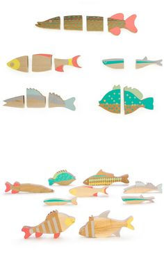 Magnetic fish jigsaw puzzle. Students could design, make, paint, add magnets - using cardboard, papier mache, or wood. Sell, donate, decorate.
