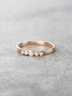 Five Diamonds Hammered Ring