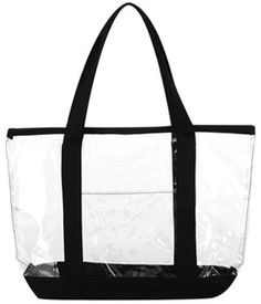 Clear ZIPPER tote with color trim and bottom $8.19