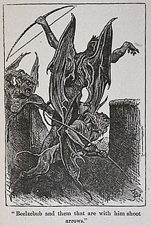 """Beelzebub and them that are with him shoot arrows"""" from John Bunyan's The Pilgrim's Progress (1678)"""