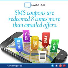 #Didyouknow SMS coupons are redeemed 8 times more than emailed offers.