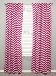 Curtain Panels by Leah Ashley, Custom Nursery Design, leahashley.net made in:  curtain 84 long,  2,  hot pink chevron,   Curtain Panels - Curtains - Window Treatment