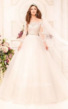 #Dorris Wedding - #Dorris Wedding Ball Gown Long Off-The-Shoulder Long-Sleeve Illusion Tulle Dress With Appliques And Beading - AdoreWe.com