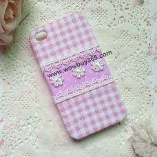 Pink Check Floral Fabric iPhone 4/4s/5 Case