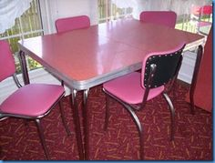 vintage kitchen formica table 4 chairs pink flamingo_350466150339 - Formica Kitchen Table