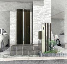 kanako fujisakiさんはInstagramを利用しています:「機能門柱のデザイン。バリュータイプの機能門柱に角柱を合わせて少し豪華にしました。都市型のモダン住宅に機能門柱は似合いますね。#機能門柱#シンプルモダン#エクステリア#外構パース#RIKCAD」 Japanese House, Entrance, Garage Doors, Backyard, Garden, Outdoor Decor, Home Decor, Instagram, Entryway