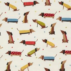 Dachshund pattern. BuyJohn Lewis Saucisson PVC Tablecloth Fabric, Multi Online at johnlewis.com