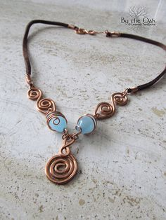 Celtic Necklace Wire Wrapped Copper Spiral Jewelry Blue Glass Beads One of a Kind