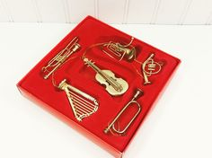 Early 1990's Gold Metal Musical Instrument Ornaments -  Miniature Harp,  Guitar Trumpets and Horns for a musical Christmas. Available at #naturegirl22.etsy.com