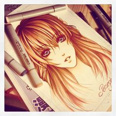 Manga/Anime girl done with Copic markers. Isn't she lovely? This makes me want to draw just looking at it. <3