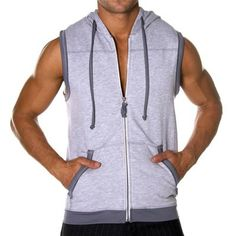 Pure Sleeveless Hoody by Andrew Christian in Heather Grey
