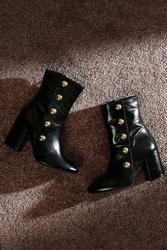 05646b1166a Black Mid Heel Ankle Boots. Paying tribute to the current military trend