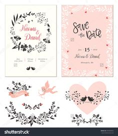 Wedding cards with typographic design, heart shape, birds, cupid, decorative frame and ornate floral wreath. Vector illustration.
