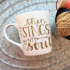 Start the day off right with a beautiful line with this gold-text mug from the classic hymn How Great Thou Art