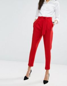 Find the best selection of ASOS Woven Peg Pants with OBI Tie. Shop today with free delivery and returns (Ts&Cs apply) with ASOS! Red Trousers Outfit, Red Dress Pants, Peg Trousers, Trouser Outfits, Red And White Outfits, White Shirt Outfits, Casual Outfits, Fashion Mode, Fashion Pants