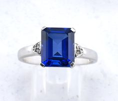 Sapphire Diamond White Gold Ring (US) or V (UK) by fkantique on Etsy Sapphire Rings, Sapphire Diamond, White Gold Rings, Unique Jewelry, Handmade Gifts, Etsy, Vintage, Kid Craft Gifts, White Gold Wedding Rings