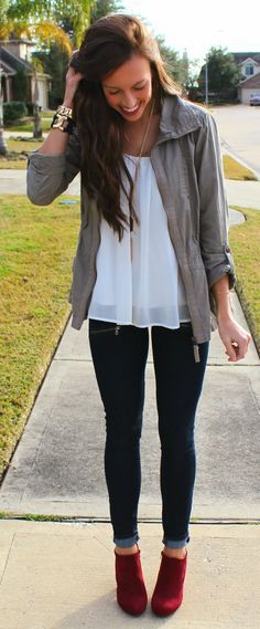 jacket + jeans + booties ... easy and cute!